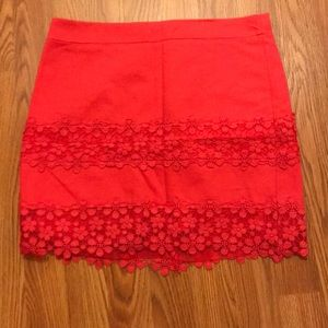 J Crew coral skirt with lace trim
